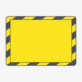 Cornice di pericolo. cornice di linee nere e gialle con grunge. illustrazione vettoriale.