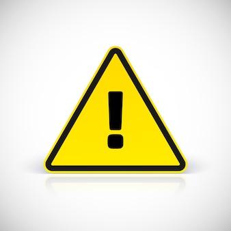 Segnale di attenzione di avvertimento di pericolo con il simbolo del punto esclamativo.