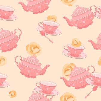 Il modello è senza soluzione di continuità. tazza da tè e teiera rosa del xviii secolo. sullo sfondo di rose gialle.