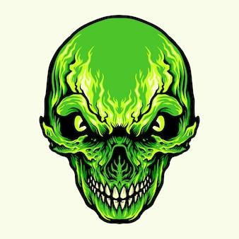 Illustrazioni di teschio verde arrabbiato di testa