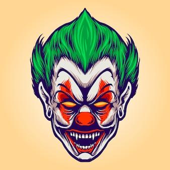 Head angry joker clown illustrazioni vettoriali per il tuo lavoro logo, t-shirt con merchandising della mascotte, adesivi e design di etichette, poster, biglietti di auguri che pubblicizzano aziende o marchi.