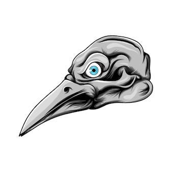 Testa di uccello dal lungo becco con il colore grigio e lente blu