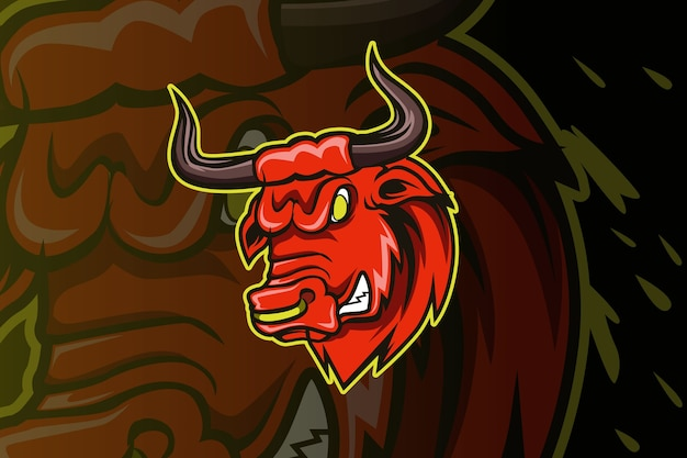 Illustrazione di logo del fumetto del carattere della mascotte della testa del toro della testa