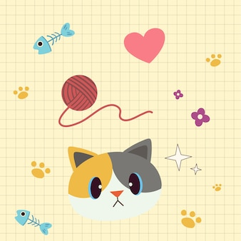 La testa di gatto con una linea di griglia sembra carta nel quaderno e cuore rosa