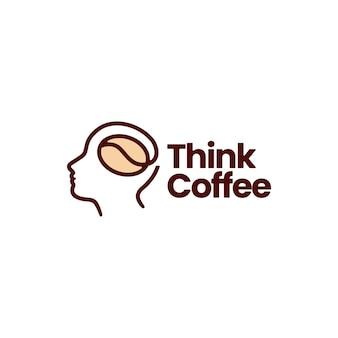 Il chicco di caffè capo pensa l'illustrazione dell'icona di vettore del logo del neurone