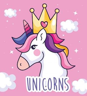 Testa dell'unicorno sveglio con progettazione dell'illustrazione di vettore della decorazione delle nuvole e della corona