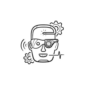 Icona di doodle di contorno disegnato a mano di potenziamento cyber testa. aumento umano, concetto di potenziamento umano