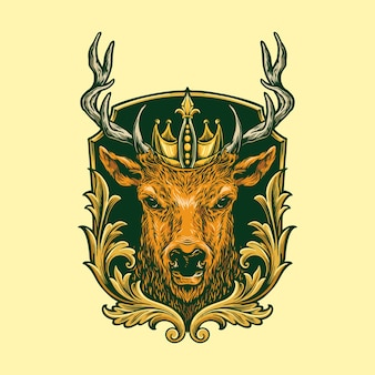 Head deer logo classic illustrazione
