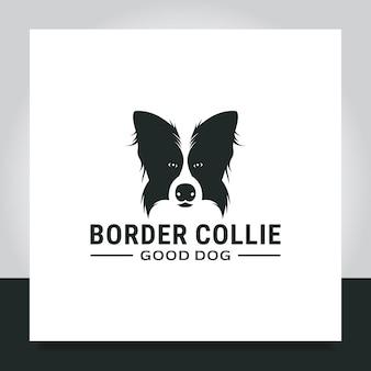 Design del logo dell'animale domestico del border collie della testa del cane per l'addestratore di animali dei proprietari