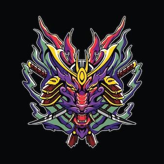 Illustrazione dell'opera d'arte del samurai del fuoco del drago della testa