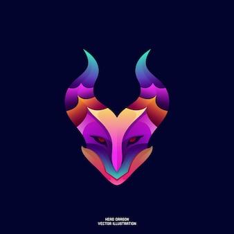 Testa del drago illustrazione vettoriale gradiente colorato