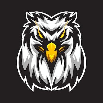 Modello di logo della mascotte dell'aquila di testa