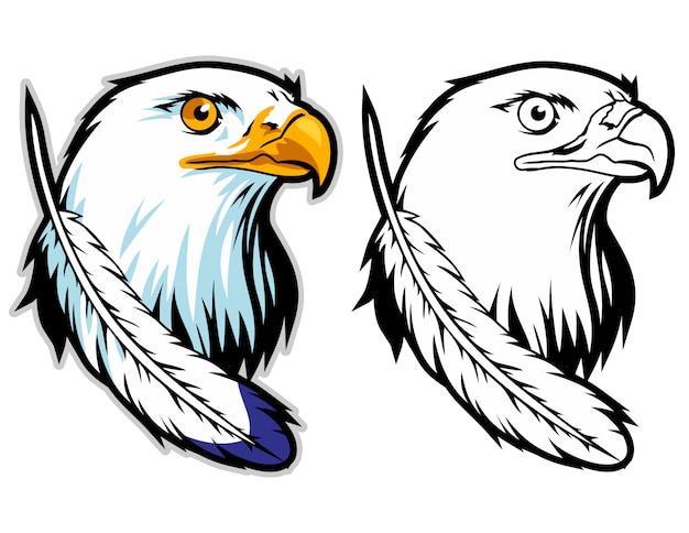 La testa di un'aquila con la mascotte di logo sport piuma