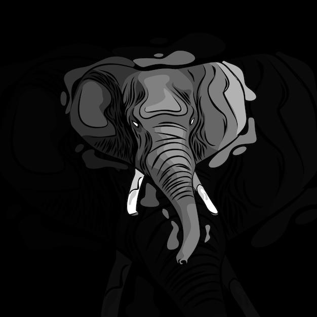Illustrazione di disegno vettoriale di testa di elefante
