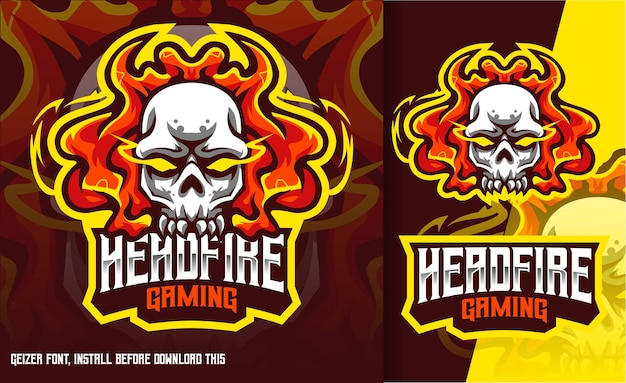Logo head fire skull gaming esport