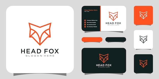 Design in stile linea logo testa volpe con biglietto da visita