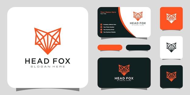 Design in stile linea vettoriale logo testa volpe con biglietto da visita