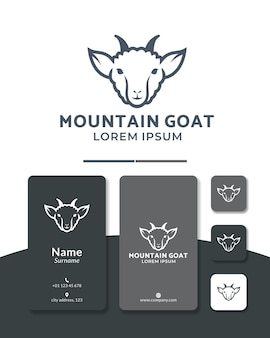 Design del logo della linea di capra della testa