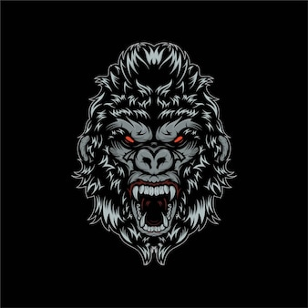 Illustrazione della mascotte di gorila testa