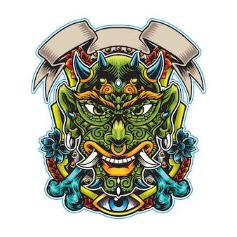 Emblema mistico testa verde malvagio per l'abbigliamento e l'uso di adesivi