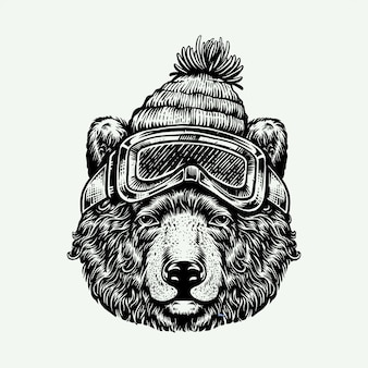 Testa di illustrazione incisione grizzly