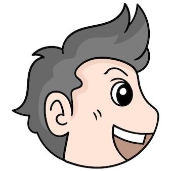 La testa dell'uomo bello ha riso dall'angolo laterale, emoticon di cartone illustrazione vettoriale. disegno dell'icona scarabocchio