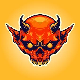 Illustrazioni della mascotte del diavolo rosso del corno capo