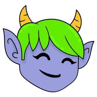 La testa del mostro biondo cornuto, emoticon di cartone di illustrazione vettoriale. disegno dell'icona scarabocchio