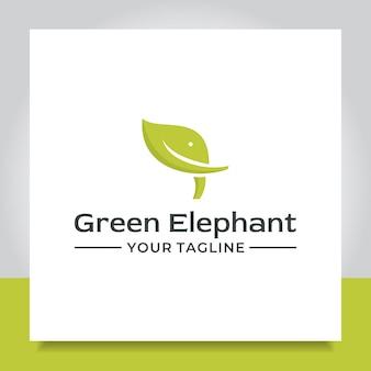 Design del logo dell'elefante con foglia di testa