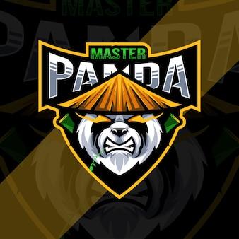 Testa maestro panda mascotte logo modello di progettazione di esports