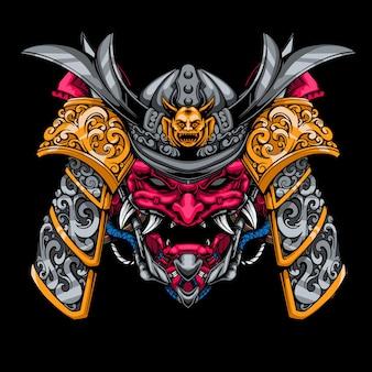 Illustrazione di testa mecha samurai