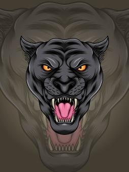 Testa muscolosa pantera nera illustrazione