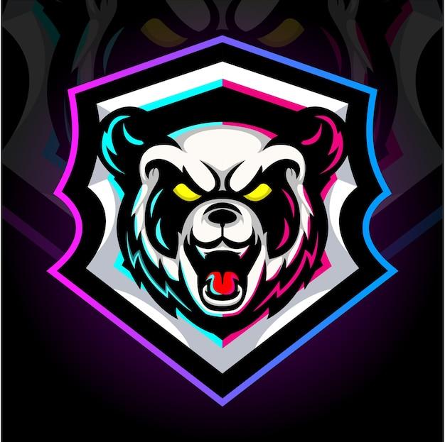 La testa della mascotte del panda. design del logo esport