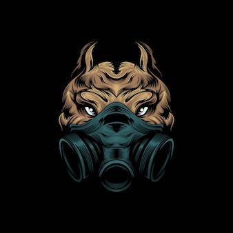 Illustrazione della mascotte della maschera di pitbull della testa
