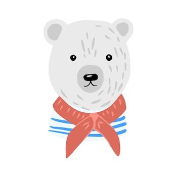 Testa di orso polare. ragazzo di cabina simpatico personaggio in camicia a righe e sciarpa rossa.
