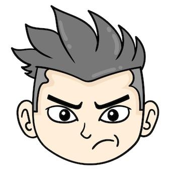 La testa dell'uomo bello orgoglioso, emoticon di cartone illustrazione vettoriale. disegno dell'icona scarabocchio