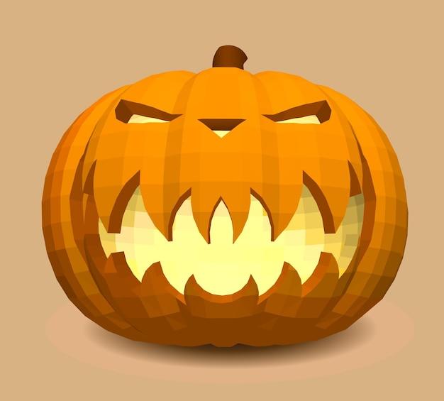 Testa-zucca su fondo beige per la decorazione di qualsiasi grafica natalizia per la festa di halloween.
