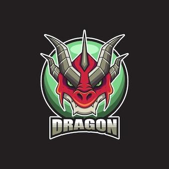 Testa di drago rosso logo illustrazione vettoriale