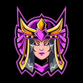 Modello di logo della mascotte della ragazza del samurai della testa