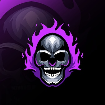 Testa di teschio fuoco mascotte logo esport design