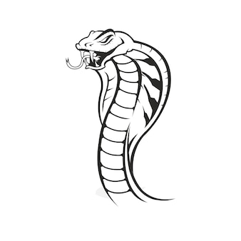 Stile vintage testa serpente cobra isolato su bianco Vettore Premium