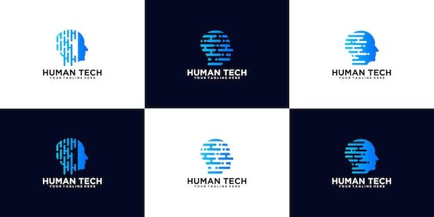 Collezione di tecnologie per la testa, modello di progettazione del logo del cervello digitale