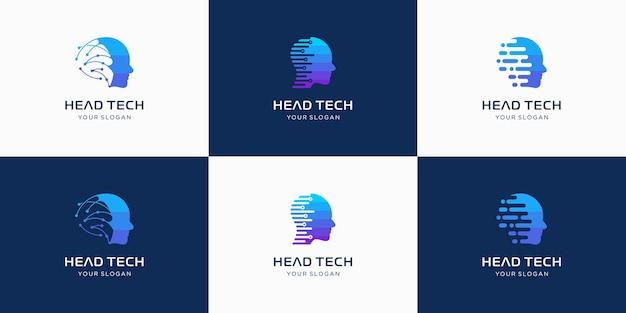 Logo tecnologia testa, modello logo tecnologia robotica progetta illustrazione