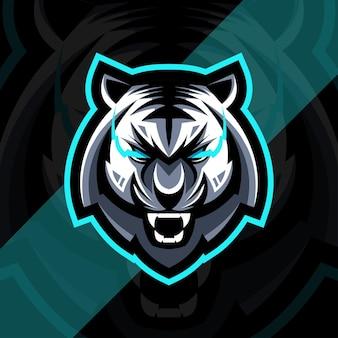 Testa di tigre arrabbiata mascotte logo esport design