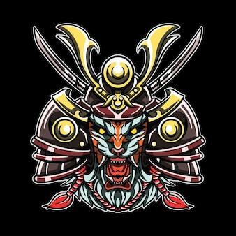 Testa dell'illustrazione del samurai della tigre