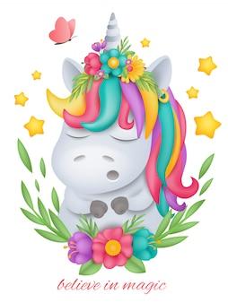 Testa del personaggio dei cartoni animati di unicorno bianco in cornice floreale rotonda.