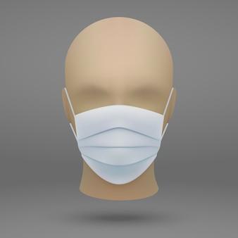 Testa con mascherina medica.