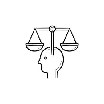 Testa con icona di doodle di contorni disegnati a mano scale. intelligenza artificiale ed etica della macchina, concetto di scala giuridica