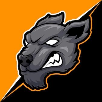 Testa lupo mascotte animale arrabbiato per illustrazione vettoriale logo sport ed esport