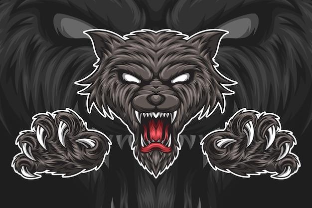 Testa di lupo illustrazione Vettore Premium